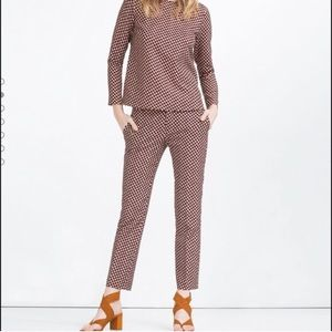 Zara Geometric 2 Piece Outfit - Blouse and Pants